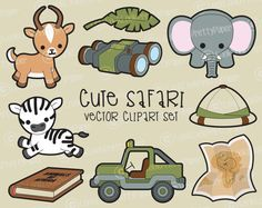 Premium Vector Clipart  Kawaii Safari by LookLookPrettyPaper