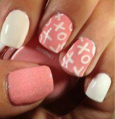 Cute Pink Nails #21 - Tic Tac Toe