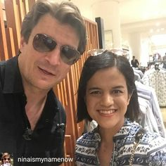 "@Regrann from @ninaismynamenow -  I saw Nathan Fillion @natefillion, Richard Castle himself,  walking along downtown and going into @nordstromvan. I had to stalk him into the store and up to the second level. I scared him when I tapped his arm as he had his earphones on. I requested for him to take his sunglasses off but he declined as he said he is not ""internet ready"". I shook his hand afterward. 😅 - #regrann"
