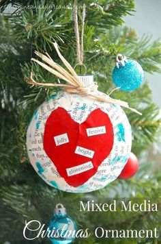 This Mixed Media Christmas Ornament is easy and unique, perfect for personalization! Great gift for kids to make for long-distance family. Christmas Crafts For Kids, Christmas Activities, Diy Christmas Ornaments, Homemade Christmas, Craft Activities, All Things Christmas, Holiday Crafts, Christmas Holidays, Christmas Gifts