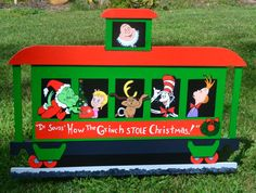 Seuss the Grinch who stole Christmas train with Cat in the Hat lawn stake lawn art caboose Grinch Who Stole Christmas, Whoville Christmas, Christmas Yard Art, Christmas Train, Christmas Wood, Christmas Tree Ornaments, Christmas Crafts, Grinch Yard Decorations, Outdoor Christmas Decorations