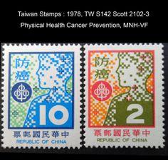 1978, TW S142 Scott 2102-3  Physical Health Cancer Prevention, MNH-VF
