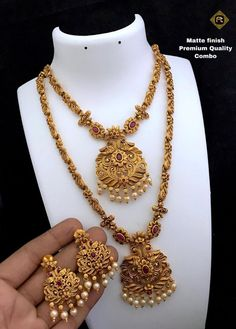 Matte Gold Bridal Necklace and Ear rings - Temple Jewellery Bridal jewelry, traditional jewelry, matte gold necklace, south indian jewelry, in - Bridal Jewelry Sets, Wedding Jewelry, Wedding Wear, Bridal Jewellery, Gold Wedding, Gold Jewellery Design, Gold Jewelry, Jewelry Designer, Ankle Jewelry