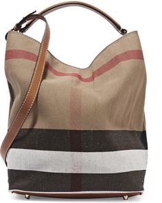 Shop Now - >  https://api.shopstyle.com/action/apiVisitRetailer?id=475058714&pid=uid6996-25233114-59 Burberry - Leather-trimmed Checked Canvas Hobo Bag - Brown  ...
