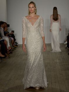 Anne Barge Fall 2019 Bridal Collection long sleeve fit and flare wedding dress with plunging v-neck, scalloped lace and beading Anne Barge Wedding Dresses, Bridal Dresses, Wedding Gowns, Bridal Collection, Dress Collection, Fit And Flare Wedding Dress, Bridal Fashion Week, Bridal Style, Beautiful Dresses