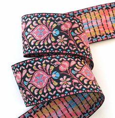 "Ribbon  2"" x 1 yd - Black, Pink, Turquoise Shell Pattern - Hippie Trim - Woodstock Era - Vintage"