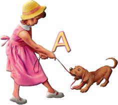 Alfabeto de niña con perrito.   Oh my Alfabetos!