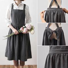 Cooking apron Simple Washed Cotton Uniform Aprons for Woman Kitchen apron Cooking Coffee Shop apron for women Sewing Aprons, Sewing Clothes, Diy Clothes, Linen Apron Dress, Bib Apron, Apron Diy, Vintage Mode, Apron Designs, Aprons Vintage