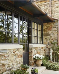 Conservatory entry by Creative gutter detail! Custom Home Builders, Custom Homes, Stone Porches, Brick And Stone, Stone Houses, House Roof, Exterior Design, Stone Exterior, House Colors