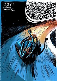 Winter Super Olympics -- Bobsleigh (Fantastic) Four, Concept/Art by Francesco Francavilla Mister Fantastic, Fantastic Four, Gi Joe, Bobsleigh, Silver Surfer, Geek Art, Winter Olympics, Comic Artist, Cool Drawings