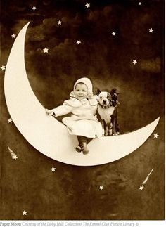 I do love photos with a Paper Moon ... this baby is most likely in their late 80's at the youngest.