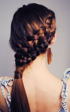 Rebecca's hair for the wedding would look cool like this: The Double French Braid Ramp up your braids and double up. Pull outwards on each french braid for a loosened style. Also, hide that elastic band with a strand of hair. Hairstyles For School, Ponytail Hairstyles, Pretty Hairstyles, Girl Hairstyles, Hairstyle Ideas, Style Hairstyle, Wedding Hairstyles, Updo Hairstyle, Amazing Hairstyles