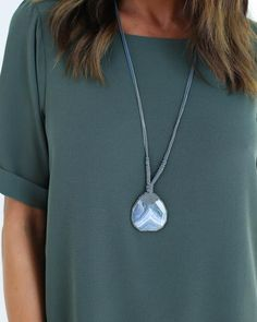 Roped Agate Pendant Necklace - Slate