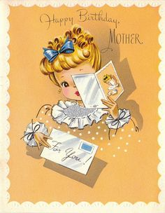 Vintage UNUSED Happy Birthday Mother by poshtottydesignz