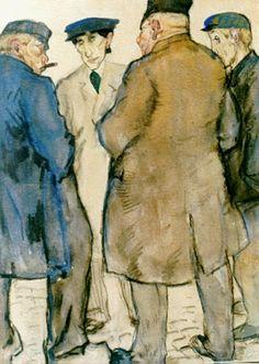 Leendert 'Leo' Gestel (Woerden 1881-1941 Hilversum) Vier handelaren op de veemarkt - Kunsthandel Simonis en Buunk, Ede (Nederland).