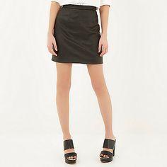 Black textured A-line mini skirt - mini skirts - high waisted skirt - women
