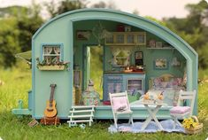 Miniature Dollhouse Diy Kit Trailer With Voice Control Light And Music Box Cute…