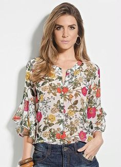 Tassel Tie Open Back Embroidered Mesh Bodysuit -SheIn(Sheinside) Tie Blouse, Peasant Blouse, Blouse Styles, Blouse Designs, Top Chic, Couture, Corsage, Blouses For Women, Floral Tops
