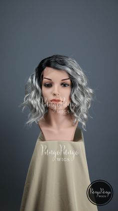 Gray Ombre Wig /Curly Long Bob Lace Front Wig/ Fashion Beauty Halloween Vampire…