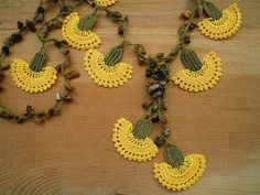 crochet necklace yellow carnation by PashaBodrum on Etsy