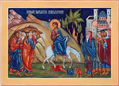 Entry into Jerusalem - Palm Sunday Triumphal Entry, Palm Sunday, Orthodox Icons, Mother Mary, My Lord, Jerusalem, Ikon, Christ, Baseball Cards