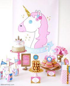 Un Anniversaire Thème Licorne - idées de décorations DIY, gâteau licorne, cadeaux d'invités et des party printables de fête à faire soi même!