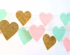 Hearts Garland Glitter Paper Garland Gold and by TheLittleThingsEV
