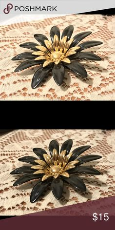 Vtg Sarah Coventry flower brooch Vintage. Oversized. Gold and black. Brooch back. Excellent condition. Vintage Jewelry Brooches