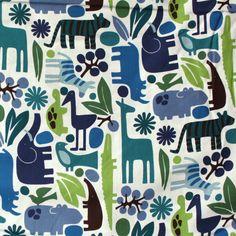Alexander Henry's Monkey Bizness, 2-D Zoo Print in Blue Pool
