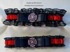 Firefighter Wedding Garters Maltese Cross Black Red and Garters