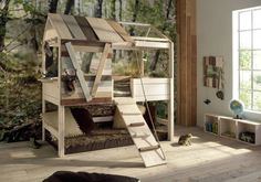 Treehouse Toddler Bunk Bed Aww I love a very earthy natural zen area for the lil ones add some flowers for a girl bunk bed. But just make your own bunk bed for that price