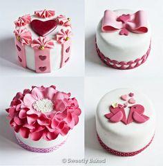 Set de 4 mini tortas de boda en blanco y rosa fuerte - Свадебные торты розового цвета фотогаллерея | Модная свадьба