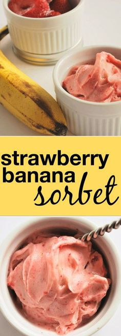 Strawberry Banana Sorbet: Hello, your new summertime treat! Just two ingredients make up the creamiest, freshest gluten free and vegan sorbet out there! || http://fooduzzi.com