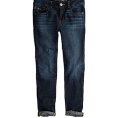 AEO Factory Boy Jeans ($30) ❤ liked on Polyvore featuring jeans, pants, dark wash, american eagle outfitters, blue jeans, american eagle outfitters jeans, relaxed fit jeans and tapered leg jeans