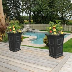 Tall garden pots tall garden planters and pots tall garden pots tall garden planters outdoor plant Black Planters, Tall Planters, Patio Planters, Garden Planter Boxes, Basket Planters, Garden Pots, Container Garden, Outdoor Flowers, Outdoor Plants