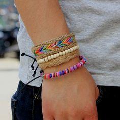 Beaded Bracelet Pipe Wrist Colorful Handmde Hand Chain Nepal Knitting Rope DIY for sale online Bracelets Diy, Tribal Bracelets, Bohemian Bracelets, Braided Bracelets, Bracelet Set, Friendship Bracelets, Summer Bracelets, Handmade Bracelets, Bangles