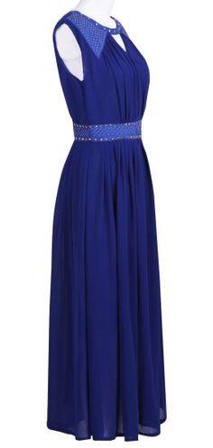 Royal Blue Sleevelss Cut Out Rivet Embellished Long Dress