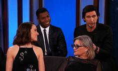 "Rey + Kylo = Reylo — The cast of The Force Awakens on ""Jimmy Kimmel. Kylo Rey, Kylo Ren And Rey, Star Wars Cast, Star Wars Kylo Ren, Star Wars Love, Star War 3, Saga, John Boyega, Adam Driver"