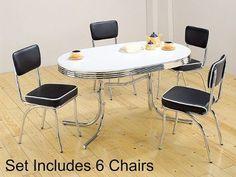 7pc White & Chrome Retro Oval Table & Black Chairs Set - http://www.furniturendecor.com/7pc-white-chrome-retro-oval-table-black-chairs-set/