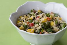 Quinoa, Black Bean, & Mango salad by Post Punk Kitchen. I made it with peaches instead of mango and it was delicious!