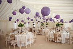 Purple lanterns in shades of lavender, lilac, and orchid add a pop of color to an otherwise neutral palette.