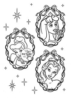 Three Disney Princesses Face coloring page for kids, disney princess coloring pages printables free - Wuppsy.com