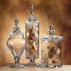 NEW 3 Glass Apothecary Jar Set, Large Storage-Holders-Decor-Candle FREE SHIPPING