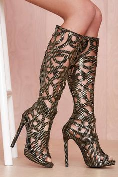 Jeffrey Campbell Scribble Leather Boot | Shop Shoes at Nasty Gal