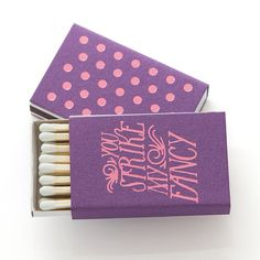 Our STRIKE MY FANCY MATCH BOXES are designed to light your fire! This item can be made in any of our colored papers and foils! #foil #matchbox #wedding