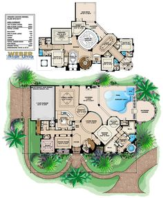 Mediterranean House Floor Plan, The 2 story floor plan offers exquisite ceiling designs, grand circular staircase, split bedrooms, loft, theater, exercise room and much more!