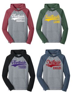 Custom Text Hooded Raglan Baseball Softball Hoodie Any Name Any School Any  Mascot School Spirit Shirt Any Color Any Font