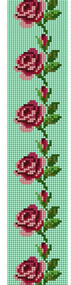 Cross Stitch Bookmarks, Cross Stitch Rose, Cross Stitch Borders, Cross Stitch Flowers, Cross Stitch Designs, Cross Stitching, Cross Stitch Patterns, Bead Loom Patterns, Beading Patterns