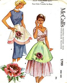 daae102c5f97c Vintage Apron Pattern - McCall s 1799 - Misses  Coronation Rose Aprons in  Two Variations - Etsy