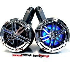 "JL Audio MX 6.5"""" Chrome Sport Grille LED Wake Tower / UTV Speaker System in Kicker KMTES Enclosures"